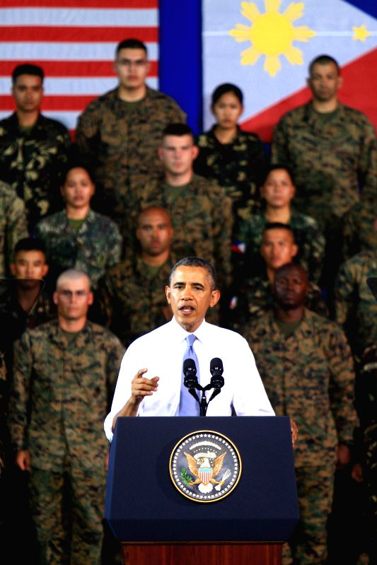 U.S. President Barack Obama speaks to the U.S. and Philippine troops at Fort Bonifacio in Taguig City, the Philippines, April 29, 2014. Hours before Obama's ...