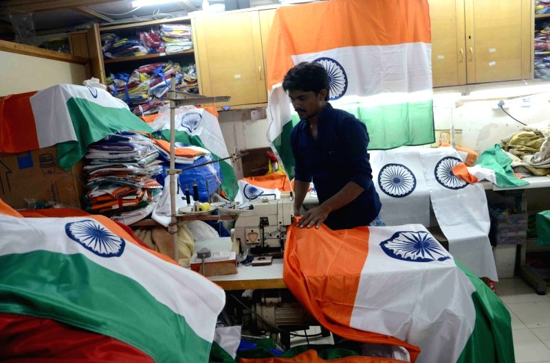 Tailors busy stitching tricolours ahead of Independence Day in Mumbai, on Aug 11, 2017.