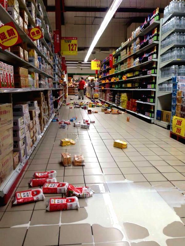 Photo taken on April 20, 2015 shows scattered goods at a supermarket in Taipei, southeast China's Taiwan. A 6.4-magnitude earthquake jolted the sea off the east ...