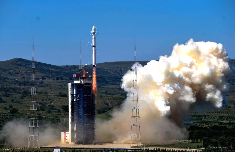 A Long March-4B carrier rocket carrying the Gaofen-2 satellite blasts off from the launch pad at the Taiyuan Satellite Launch Center in north China's Shanxi ...