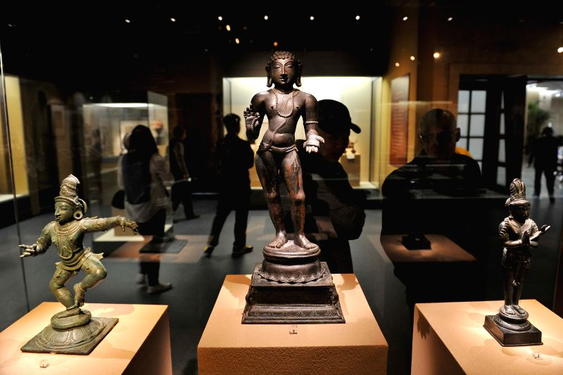 "Bronze statues are displayed at ""India's Universe"", an exhibition of Indian cultural masterworks from the Los Angeles County Museum of Art (LACMA), at the .."