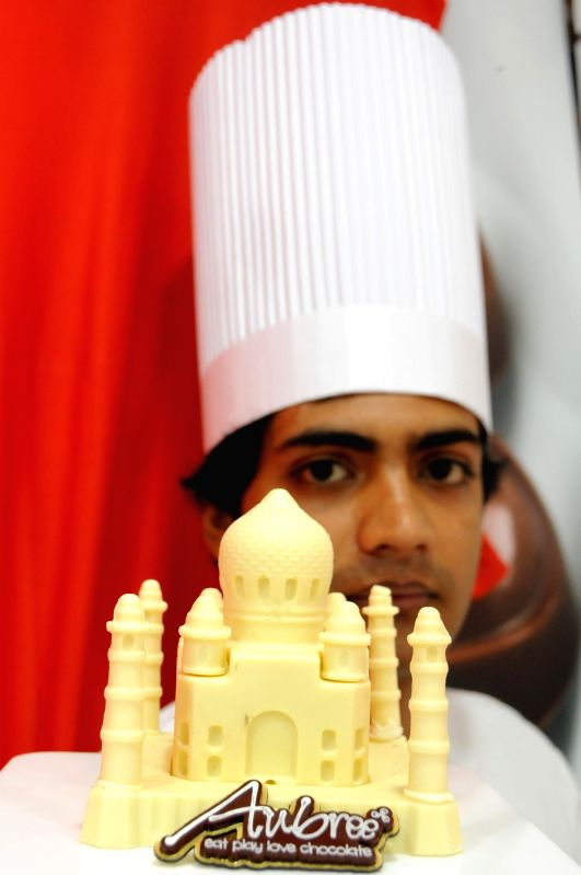 Taj Mahal up of chocolate on display during the launch of a new chocolate store in Bangalore on April 25, 2014.