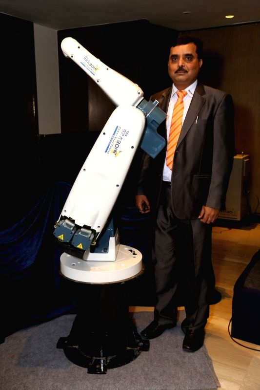 TAL Manufacturing Solution Limited COO Amit Bhingurde at the launch of six-axis robot 'BRABO TR06-6', in New Delhi on June 14, 2018.