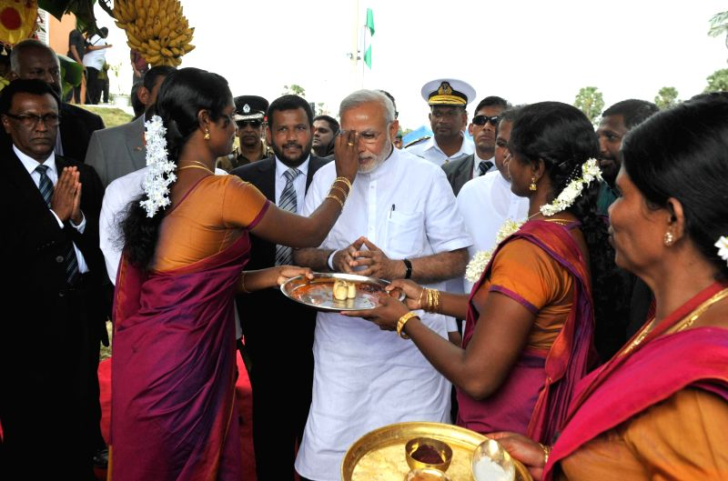 Prime Minister Narendra Modi arrives at Talaimannar to inaugurate the Talaimannar Pier Railway Station, in Sri Lanka on March 14, 2015. - Narendra Modi