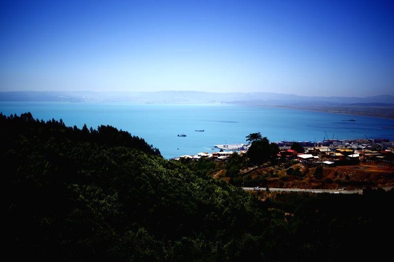 Photo taken on Jan. 12, 2015 shows a panoramic view of the Bay of Concepcion, in Talcahuano, in the Biobio region, Chile. According to local press, the waters of