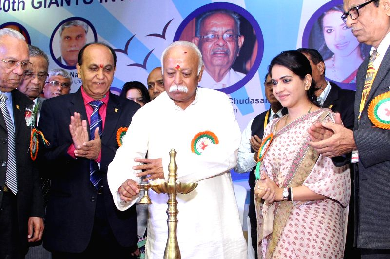 RSS chief Mohan Bhagwat inaugurates the 40th Giants International convention in Taleigao, Goa on Dec 19, 2014. Also seen fashion designer and politician Shaina NC.