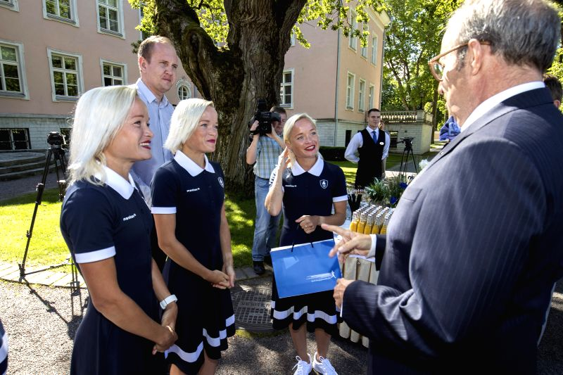 TALLINN, July 20, 2016 - Estonian 30-year-old triplets marathon-runners Leila, Liina and Lily Luik attend a reception held by Estonian President Toomas Hendrik Ilves in Tallinn, Estonia, on July 19, ...