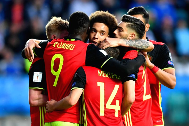 TALLINN, June 10, 2017 - Players of Belgium celebrate scoring during the 2018 FIFA World Cup European qualifiers Group H match between Belgium and Estonia in Tallinn, Estonia, on June 9, 2017. ...