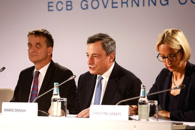 TALLINN, June 8, 2017 - European Central Bank (ECB) President Mario Draghi (C) speaks at a press conference held after ECB governing council meeting in Tallinn, Estonia on June 8, 2017. The European ...