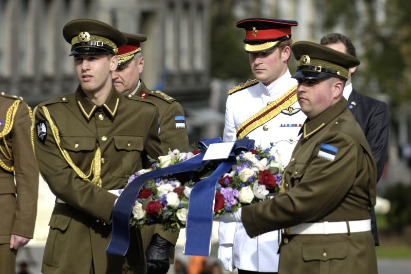 Britain's Prince Harry is ready to place a wreath at the monument to the War of Independence in central Tallinn, the capital city of Estonia, May 16, 2014, the first