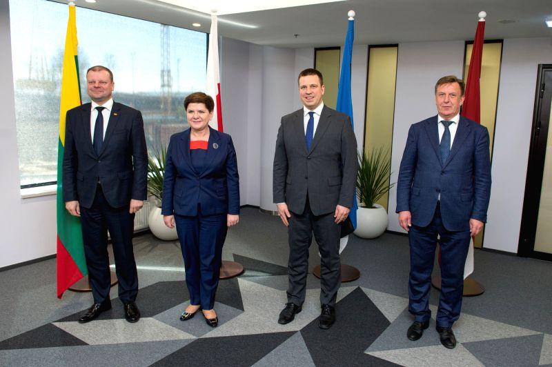 TALLINN, May 8, 2017 - Estonian Prime Minister Juri Ratas (2nd R), Latvian Prime Minister Maris Kucinskis (1st R), Lithuanian Prime Minister Saulius Skvernelis (1st L) and Polish Prime Minister Beata ... - Juri Ratas