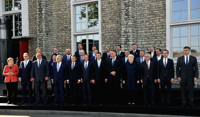TALLINN, Sept. 29, 2017 - ers pose for group photo during the Tallinn Digital Summit in Tallinn, Estonia, Sept. 29, 2017. Organized by the Estonian presidency of the Council of the European Union ...