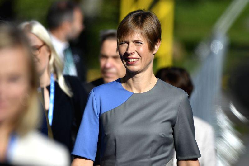 TALLINN, Sept. 29, 2017 - Estonian President Kersti Kaljulaid arrives for the Tallinn Digital Summit in Tallinn, Estonia, Sept. 29, 2017. Organized by the Estonian presidency of the Council of the ...
