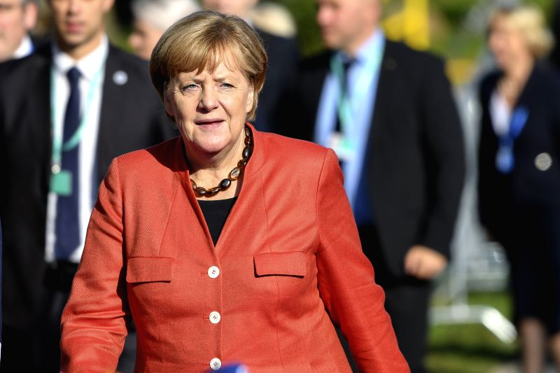 TALLINN, Sept. 29, 2017 - German Chancellor Angela Merkel arrives for the Tallinn Digital Summit in Tallinn, Estonia, Sept. 29, 2017. Organized by the Estonian presidency of the Council of the ...