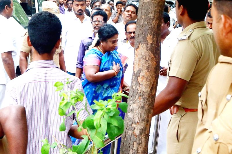 Tamil Nadu BJP President Tamilisai visits DMK President M. Karunanidhi at his Gopalapuram residence, in Chennai, on July 27, 2018. M. Karunanidhi (94) is suffering from urinary tract ...