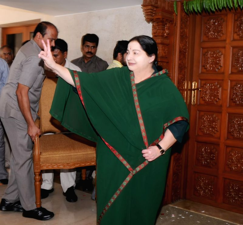 Tamil Nadu Chief Minister and AIADMK chief Jayalalithaa during a press conference regarding her party's performance in the recently concluded 2016 Tamil Nadu assembly Polls in Chennai, on ...