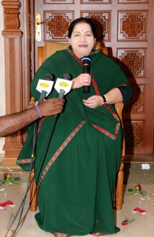 Tamil Nadu Chief Minister and AIADMK chief Jayalalithaa talks to press regarding her party's performance in the recently concluded 2016 Tamil Nadu assembly Polls in Chennai, on May 19, 2016.