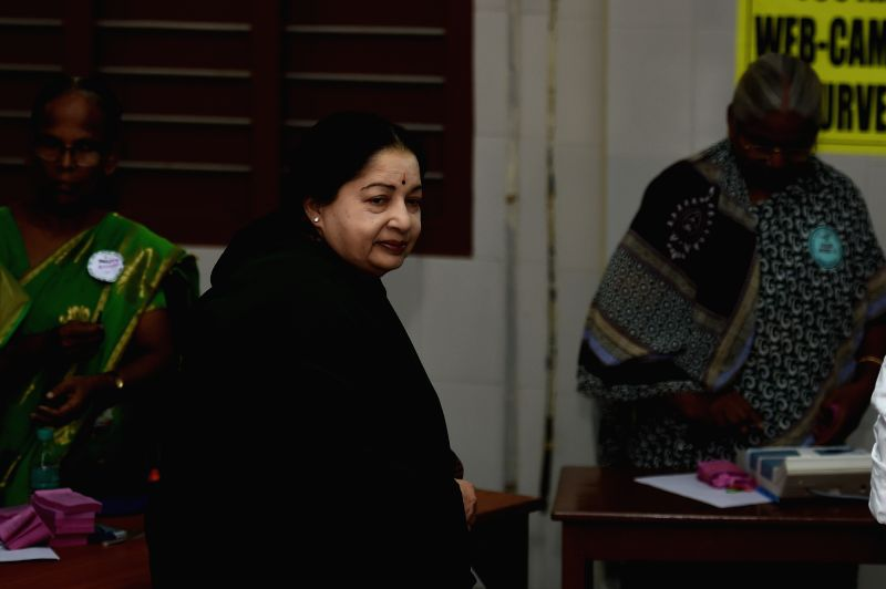 Tamil Nadu Chief Minister and AIADMK J Jayalalithaa arrives to cast her vote during state assembly polls in Chennai on May 16, 2016.
