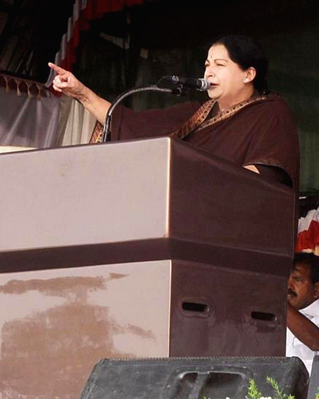 Tamil Nadu Chief Minister and AIADMK supremo J Jayalalithaa addresses a rally in Mettupalayam of Tamil Nadu on April 10, 2014.