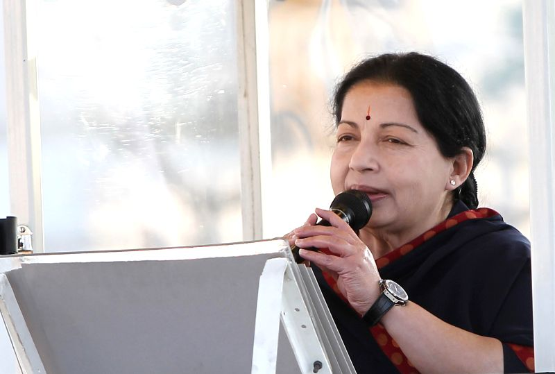 Tamil Nadu Chief Minister and AIADMK Supremo J Jayalalithaa during an election campaign in Chennai on April 19, 2014.