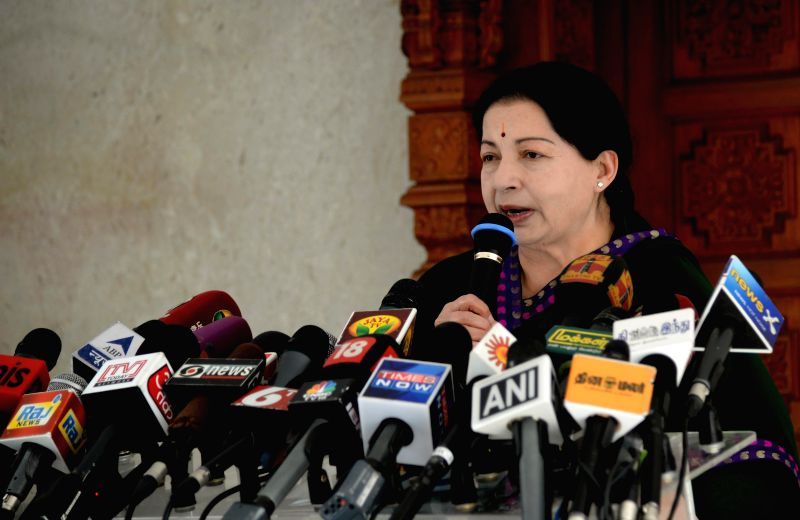 Tamil Nadu Chief Minister and AIADMK Supremo J Jayalalithaa addresses a press conference in Chennai on May 16, 2014.