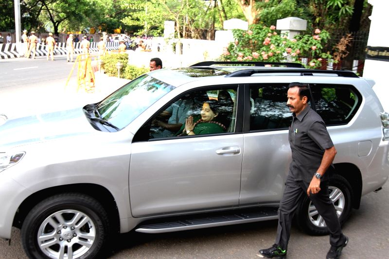Tamil Nadu Chief Minister and AIADMK supremo J Jayalalithaa leaves after meeting with Tamil Nadu Governor K Rosaiah in Chennai on May 21, 2016.
