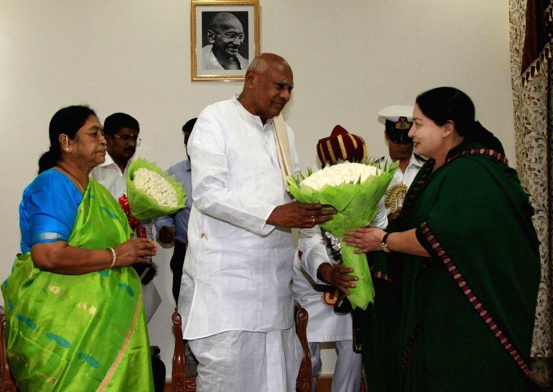 Tamil Nadu Chief Minister and AIADMK supremo J Jayalalithaa calls on the Tamil Nadu Governor K Rosaiah in Chennai on May 21, 2016.