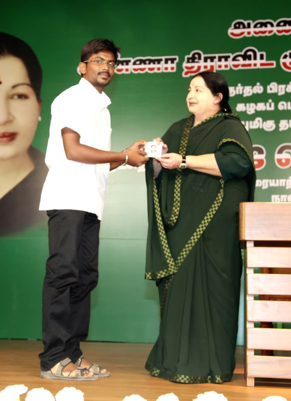 Tamil Nadu Chief Minister and AIDMK supremo Jayalalitha during a rally ahead of Tamil Nadu Assembly Polls in Perundurai of state's Erode district on May 5, 2016.