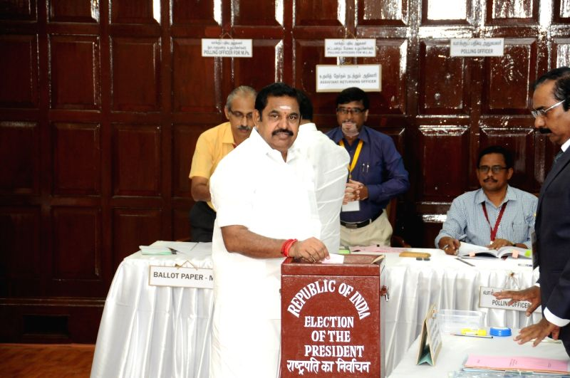 Tamil Nadu Chief Minister Edappadi Palaniswami Rao casts his vote during presidential polls at Tamil Nadu Assembly in Chennai on July 17, 2017. - Edappadi Palaniswami Rao