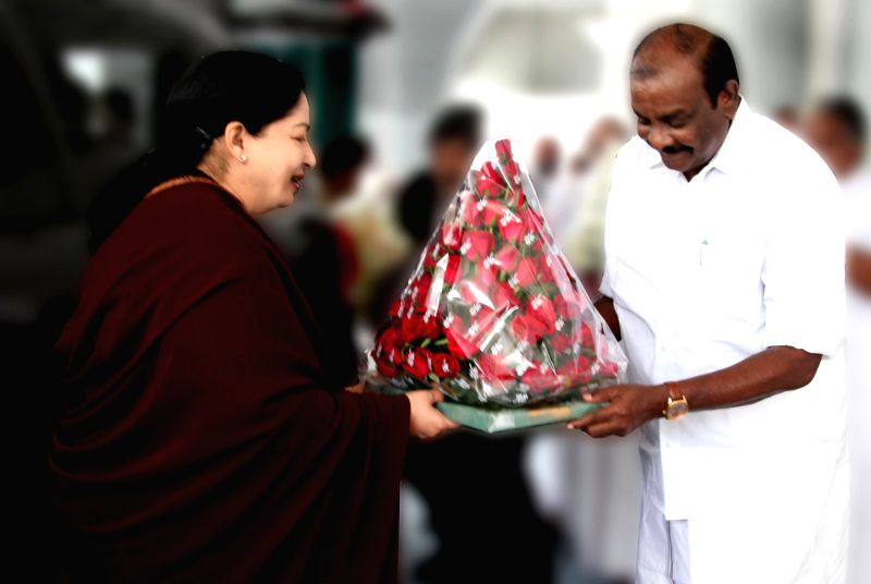 tamil nadu chief minister j jayalalitha being greeted by natham r