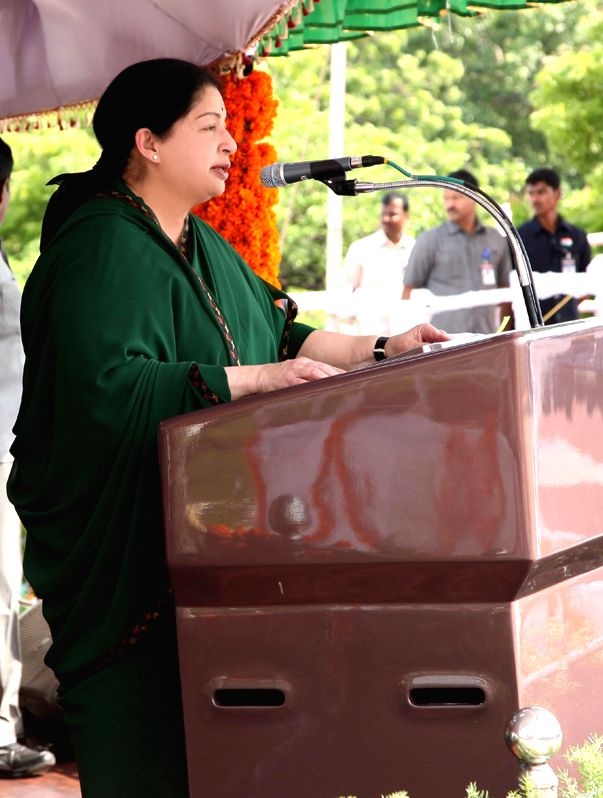 Tamil Nadu Chief Minister J Jayalalithaa addresses during 68th Independence Day celebrations in Chennai on Aug 15, 2014.