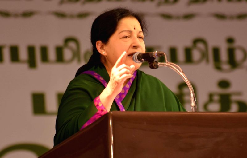 Tamil Nadu Chief Minister J Jayalalithaa at a function in Madurai on Aug.22, 2014. (Photo : IANS )