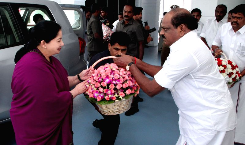 Tamil Nadu Chief Minister J Jayalalithaa being welcomed at Tamil Nadu Legislative Assembly as she arrives for  2014-15 Budget session of the assembly in Chennai on July 10k, 2014.
