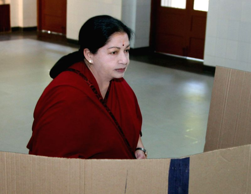 Tamil Nadu Chief Minister J Jayalalithaa casts her vote at a polling booth during the sixth phase of 2014 Lok Sabha Polls in Chennai on April 24, 2014.