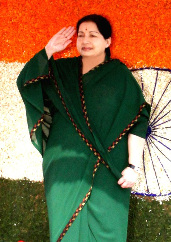 Tamil Nadu Chief Minister J Jayalalithaa during 68th Independence Day celebrations in Chennai on Aug 15, 2014.