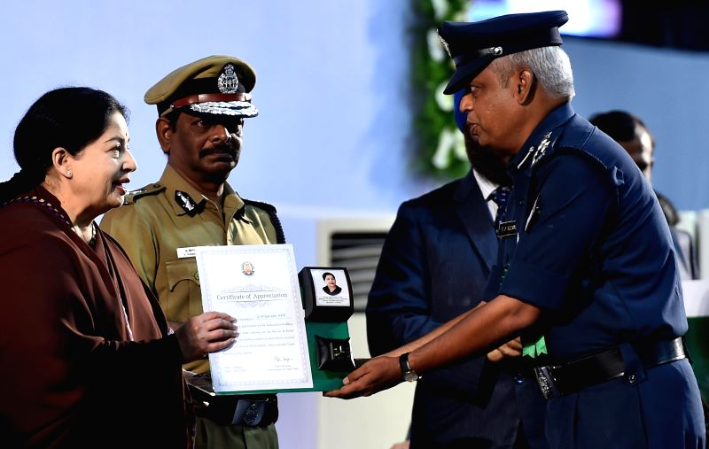 Tamil Nadu Chief Minister J Jayalalithaa during a programme organised to felicitate personnel from multiple government agencies who were involved in rescue operations at the site where a portion of a - J Jayalalithaa