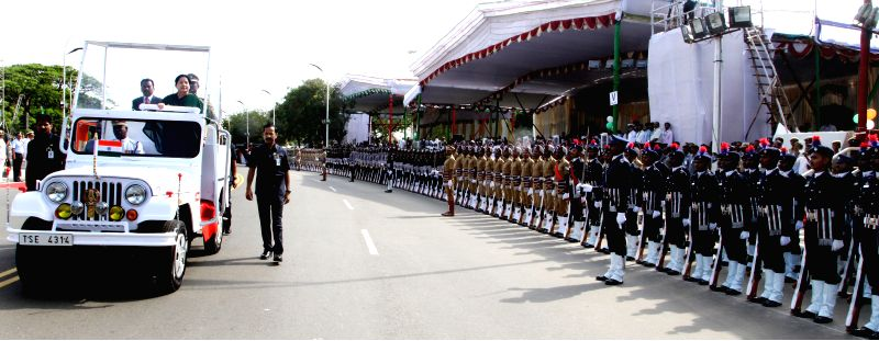 Tamil Nadu Chief Minister J Jayalalithaa inspects Guard of Honour during 68th Independence Day celebrations in Chennai on Aug 15, 2014.