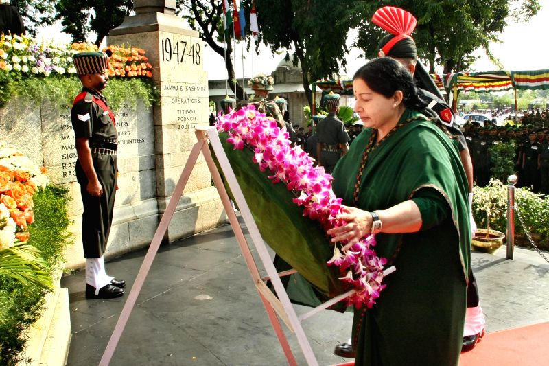 Tamil Nadu Chief Minister J Jayalalithaa lays wreath at Victory War Memorial to pay homage to the war heroes on 68th Independence day in Chennai on Aug 15, 2014. - J Jayalalithaa