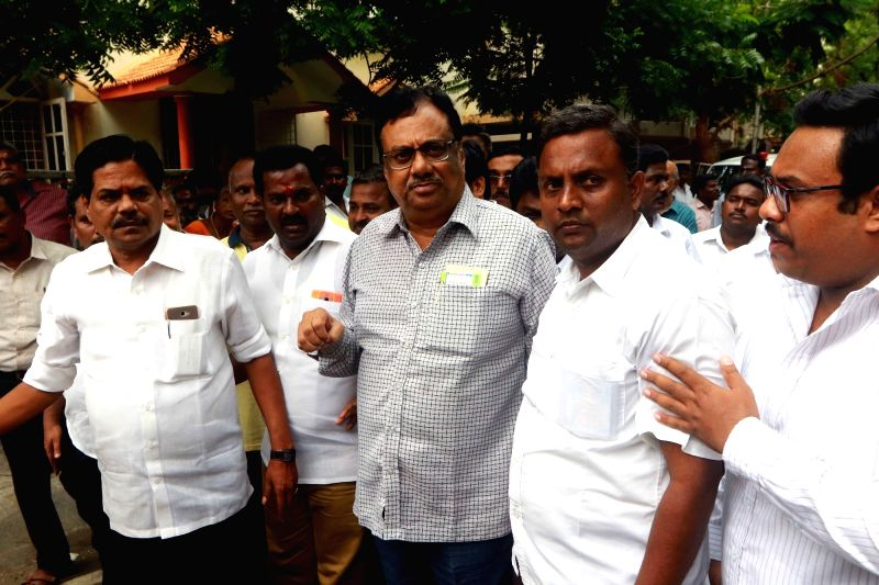 Tamil Nadu Congress Committee president EVKS Elangovan visits at DMK President M. Karunanidhi's Gopalapuram residence, in Chennai, on July 27, 2018. M. Karunanidhi (94) is suffering from ...