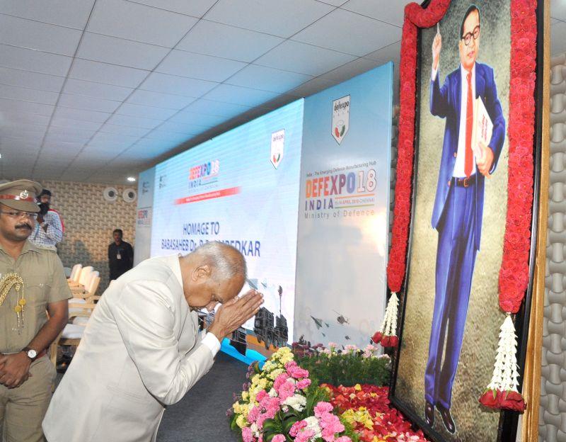 Tamil Nadu Governor Banwarilal Purohit pays homage to Dr. B.R. Ambedkar on his 127th birth anniversary, at the closing ceremony of DefExpo India 2018, at Thiruvidanthai, Kancheepuram ...