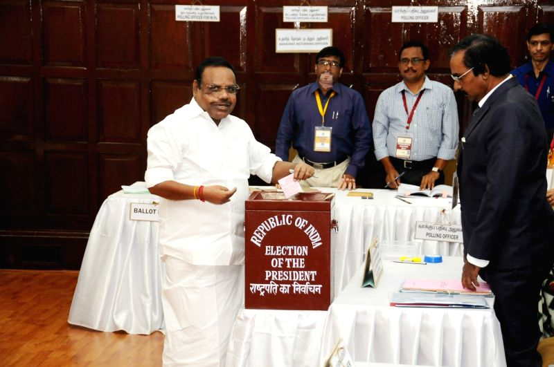 Tamil Nadu Speaker P Dhanapal casts his vote during presidential polls at Tamil Nadu Assembly in Chennai on July 17, 2017. - P Dhanapal