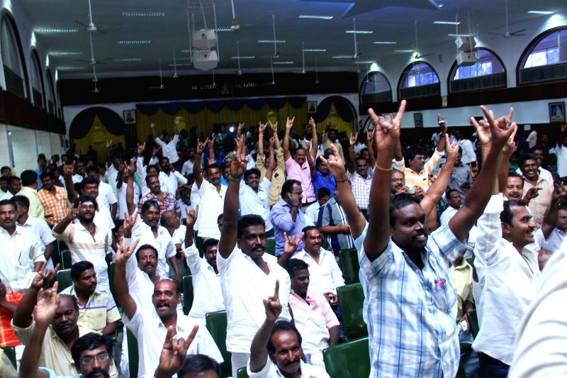 Tamil superstar Rajinikanth  meeting his supporters in Chennai on May 15, 2017.