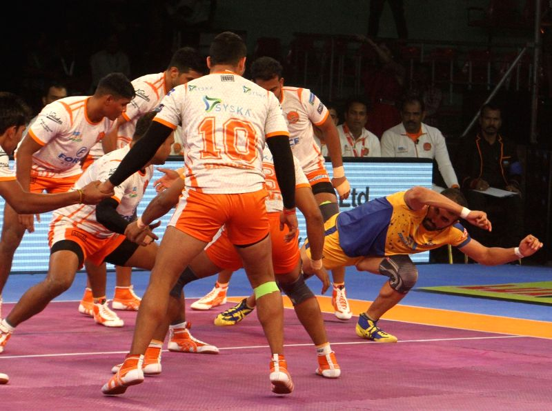 Tamil Thalaivas Raider Ajay Thakur in action during a Pro Kabaddi League 2017 match between Puneri Paltan and Tamil Thalaivas in Chennai, on Sept 29, 2017.