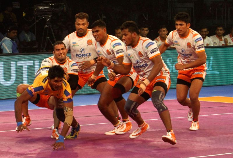 Tamil Thalaivas Raider K. Prapanjan in action during a Pro Kabaddi League 2017 match between Puneri Paltan and Tamil Thalaivas in Chennai, on Sept 29, 2017.