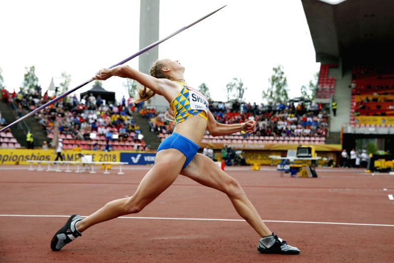 TAMPERE, July 12, 2018 - Alina Shukh of Ukraine competes during the women's javelin throw event at the IAAF (International Association of Athletics Federations) World U20 Championships in Tampere, ...