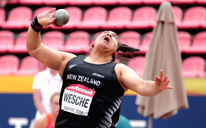 TAMPERE, July 12, 2018 - Madison-Lee Wesche of New Zealand competes during the women's shot put event at the IAAF (International Association of Athletics Federations) World U20 Championships in ...