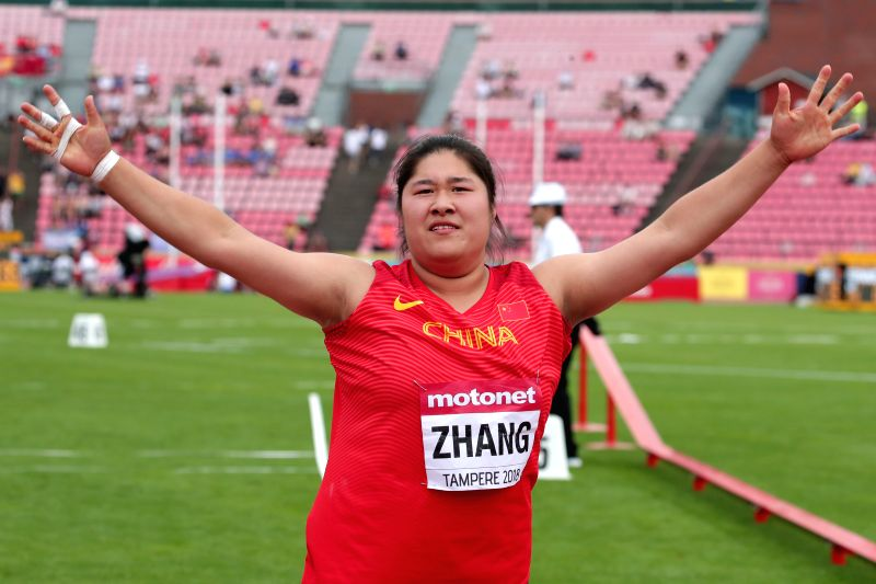TAMPERE, July 12, 2018 - Zhang Linru of China gestures during the women's shot put event at the IAAF (International Association of Athletics Federations) World U20 Championships in Tampere, Finland, ...