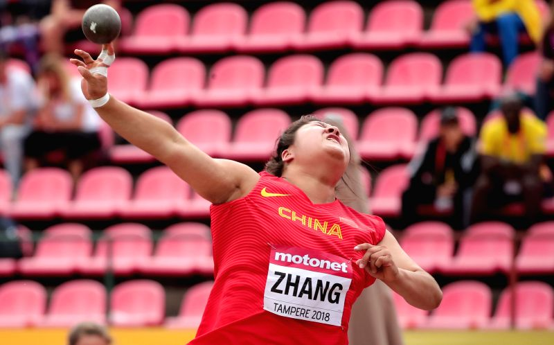 TAMPERE, July 12, 2018 - Zhang Linru of China competes during the women's shot put event at the IAAF (International Association of Athletics Federations) World U20 Championships in Tampere, Finland, ...