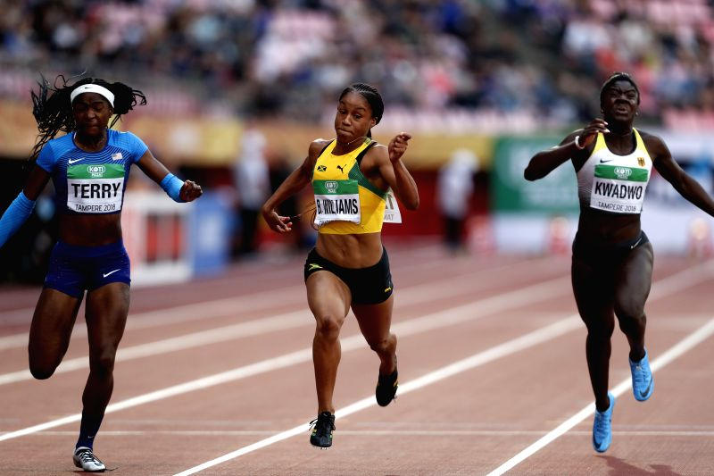 TAMPERE, July 13, 2018 - Briana Williams (C) from Jamaica competes during the women's 100 meters final at the IAAF (International Association of Athletics Federations) World U20 Championships in ...