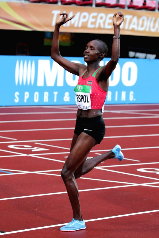 TAMPERE, July 14, 2018 - Celliphine Chepteek Chespol of Kenya celebrates after winning women's 3000 meters steeplechase at the IAAF World U20 Championships in Tampere, Finland on July 13, 2018. ...